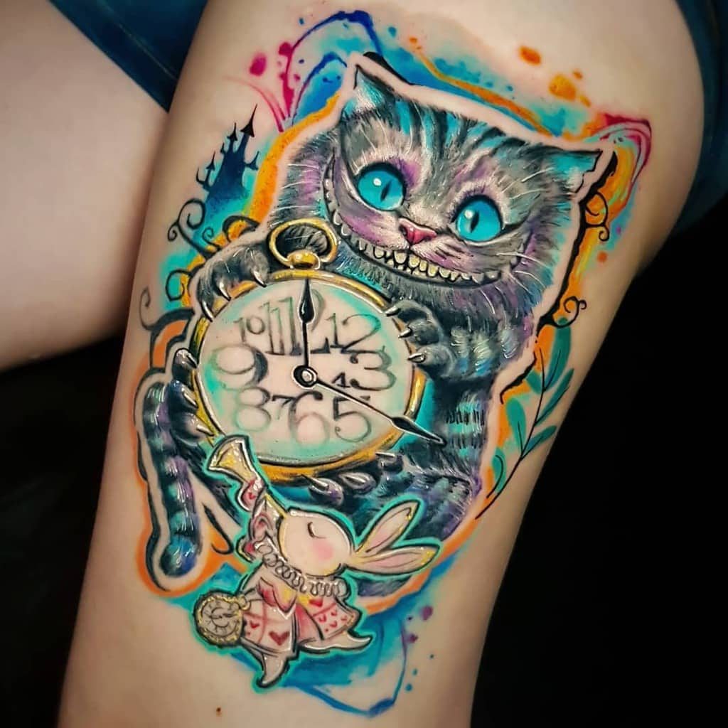 Watercolor Cheshire Cat Tattoo lighthousetattoo.medellin