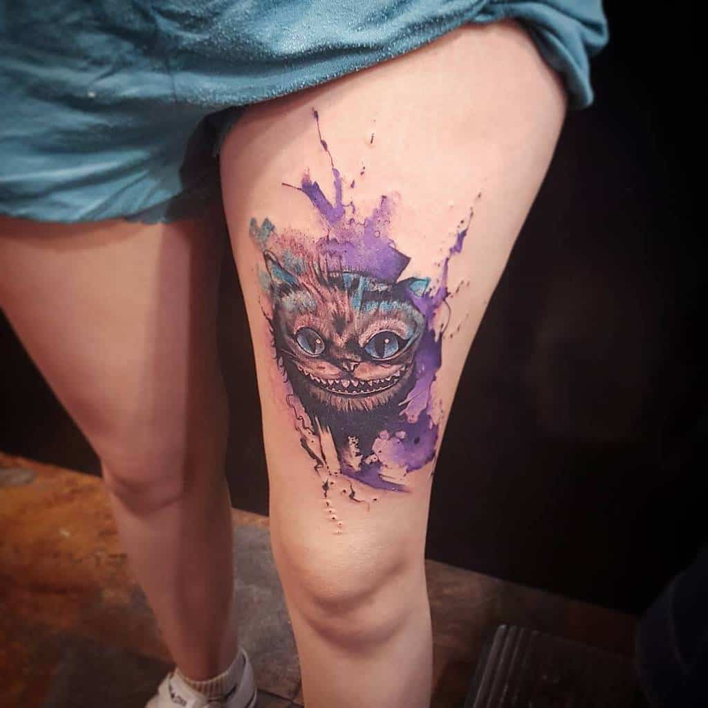 Watercolor Cheshire Cat Tattoo santa_tinta
