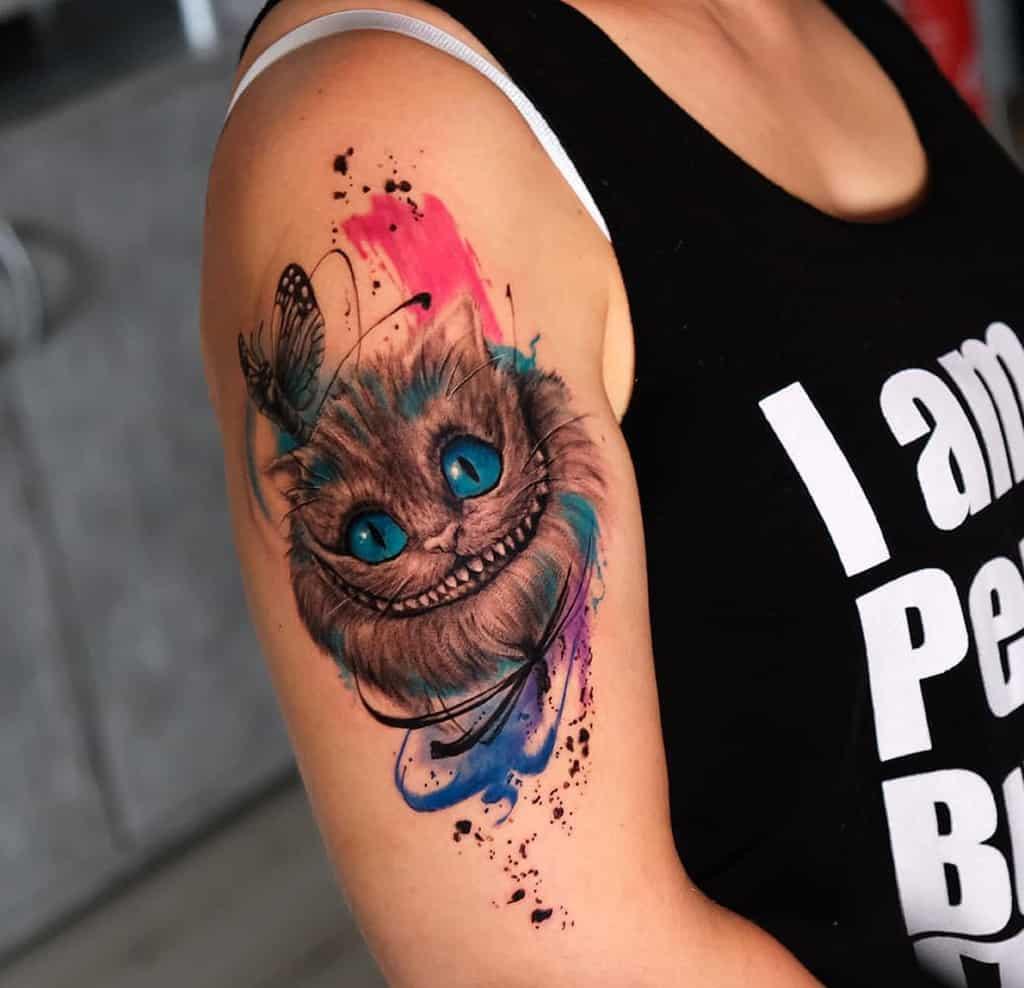 Watercolor Cheshire Cat Tattoo stefan_koppel_art