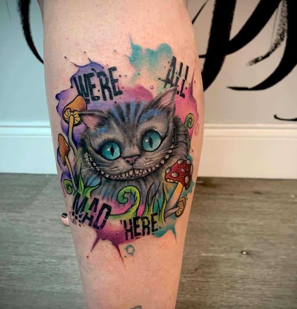 Watercolor Cheshire Cat Tattoo tomhuestisart