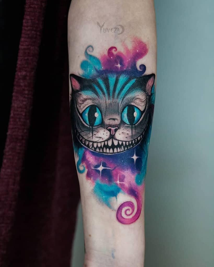Watercolor Cheshire Cat Tattoo yuveza