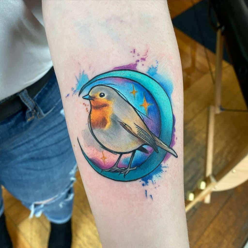 Watercolor Crescent Moon Tattoo dbishoptatto