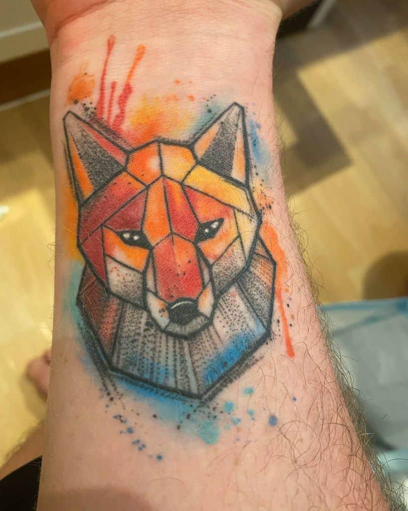 Watercolor Geometric Fox Tattoo alexthefoxy