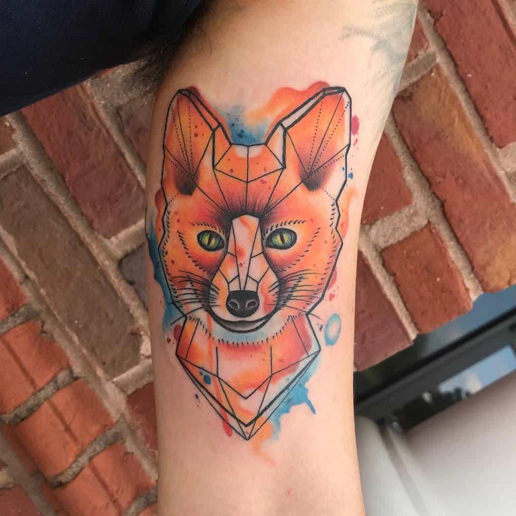Watercolor Geometric Fox Tattoo aprilshowerstattoo