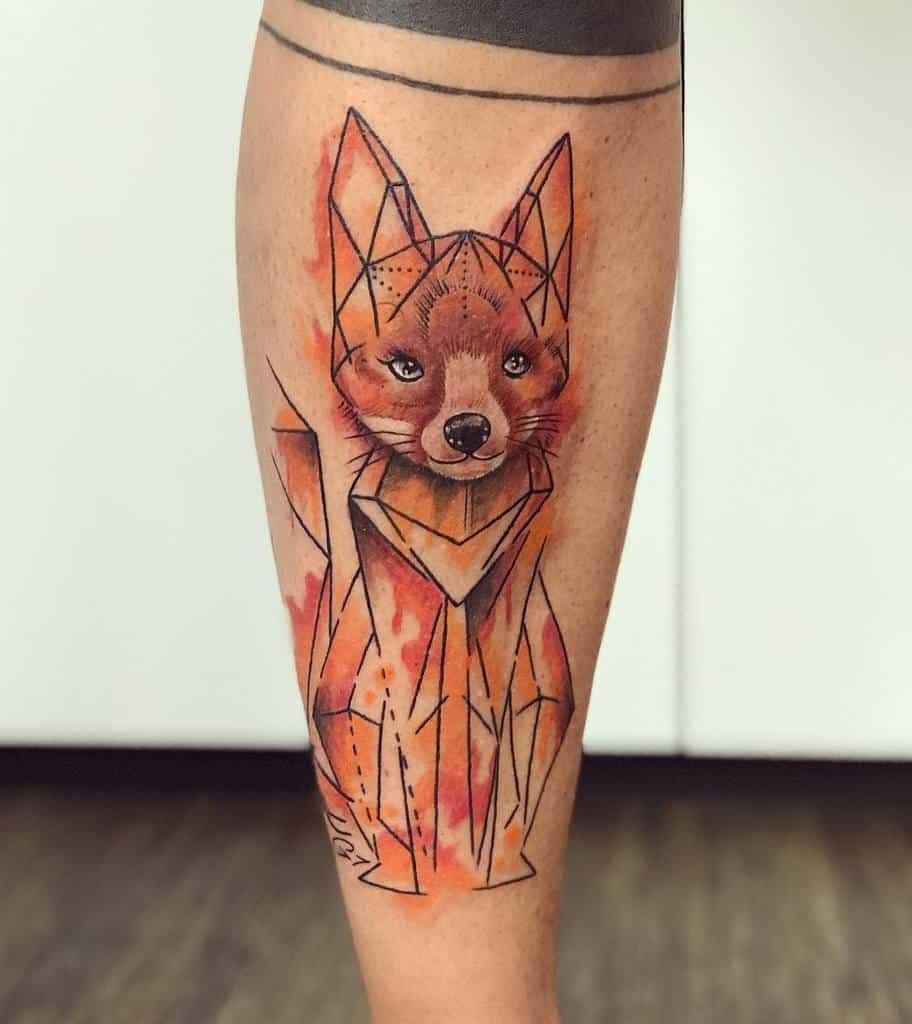 Watercolor Geometric Fox Tattoo claudiaberger_tattoo