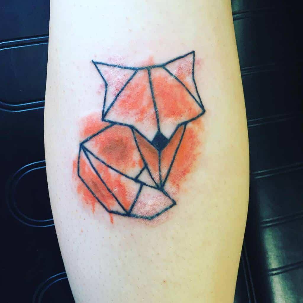 Watercolor Geometric Fox Tattoo ikb.ink