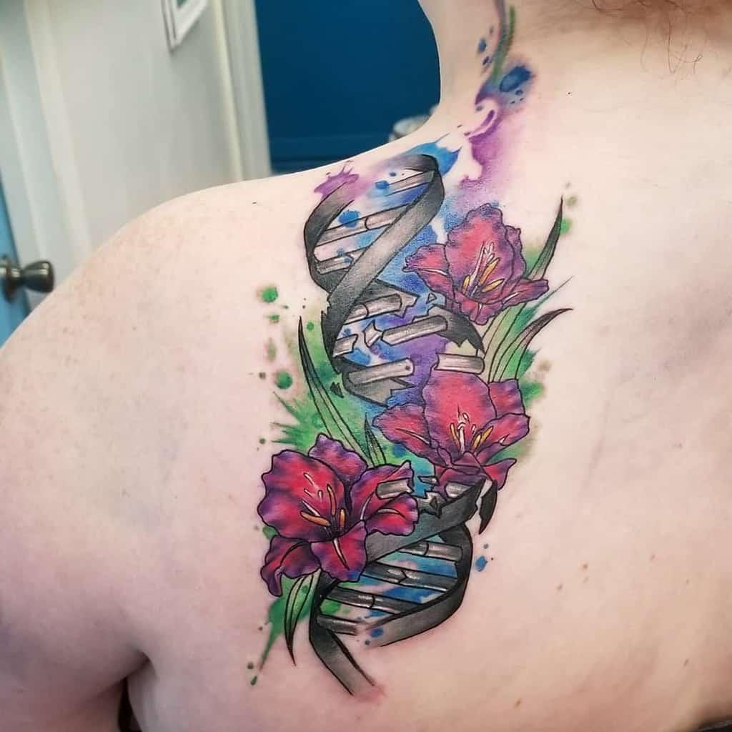 Watercolor Gladiolus Flower Tattoo arynfoxart
