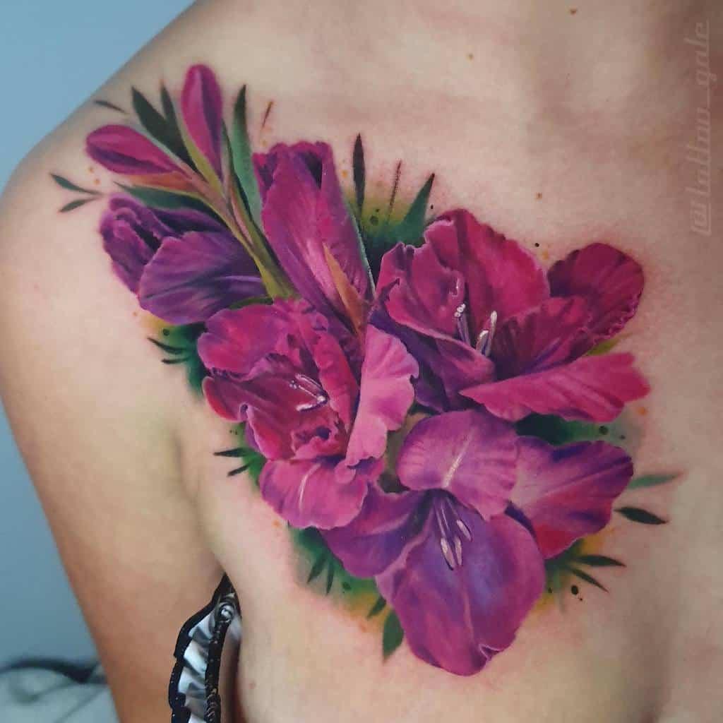 Watercolor Gladiolus Flower Tattoo tattoo_gale