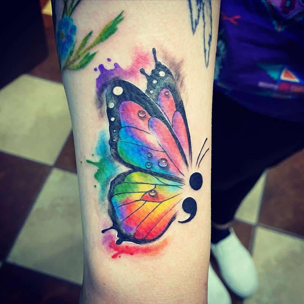 Watercolor Semicolon Butterfly Tattoo carolla_deville