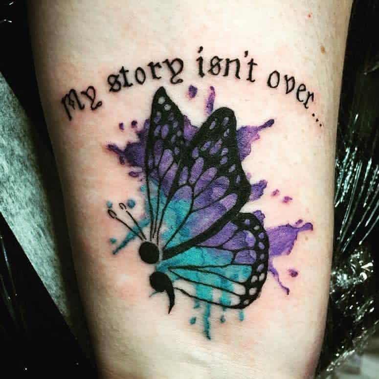 Watercolor Semicolon Butterfly Tattoo debseewebsee