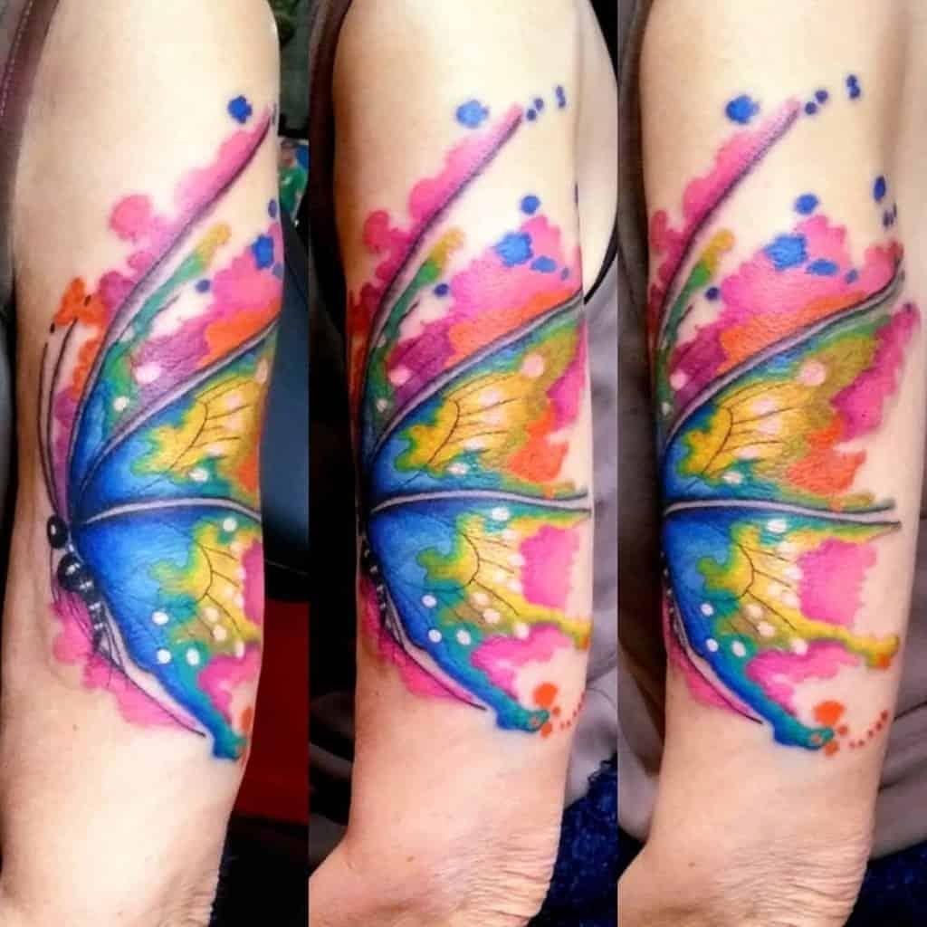Watercolor Semicolon Butterfly Tattoo katelijnelaurens