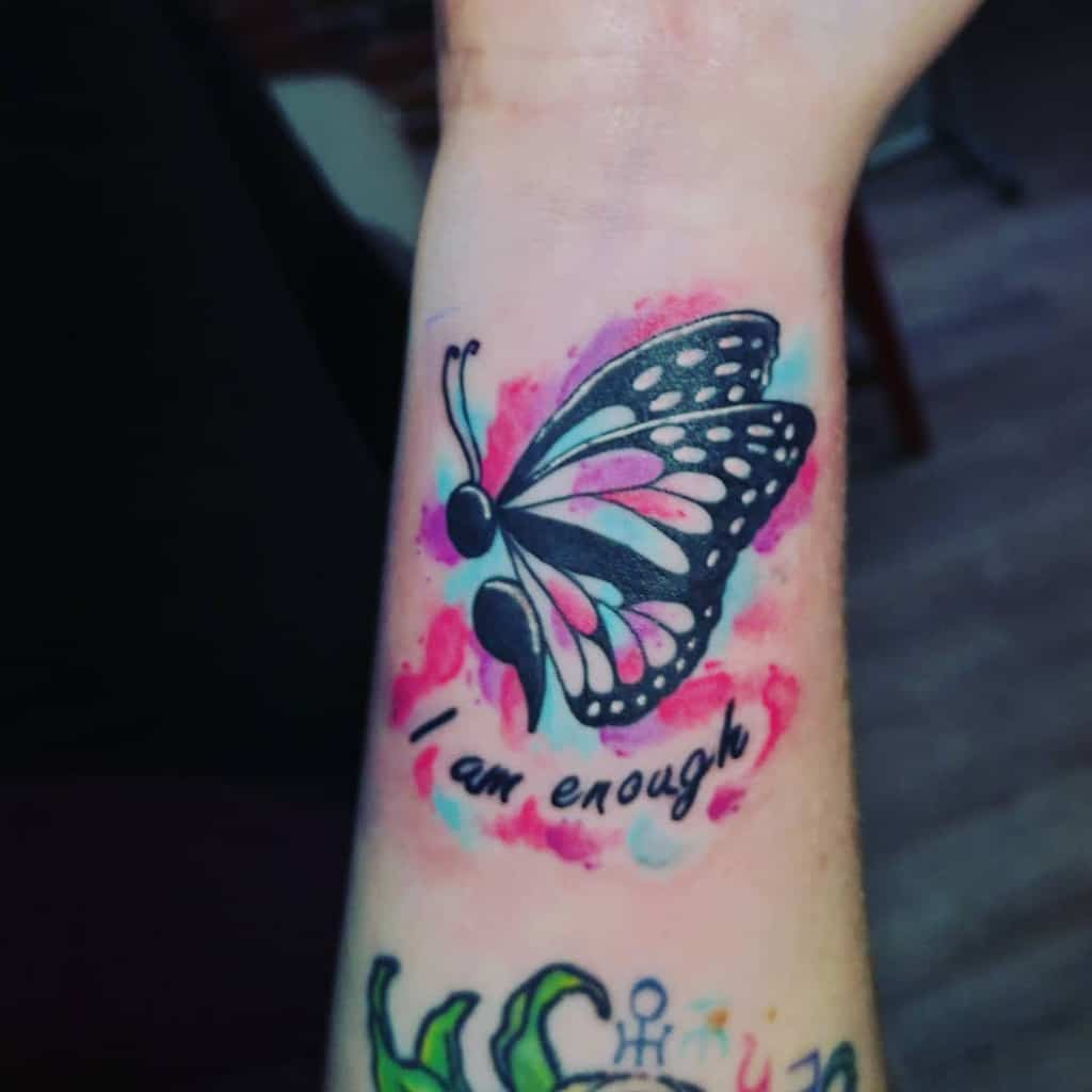 Watercolor Semicolon Butterfly Tattoo lexiebunny88