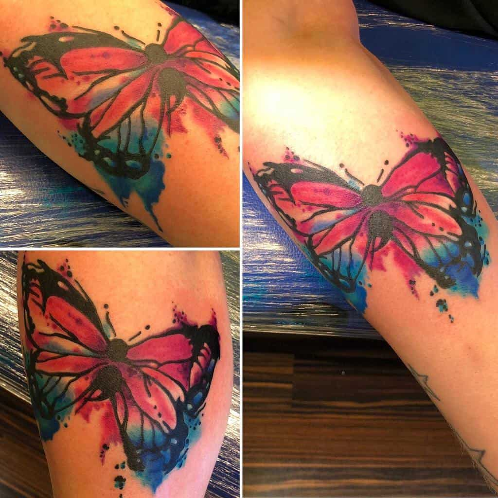 Watercolor Semicolon Butterfly Tattoo sechzehntattoo