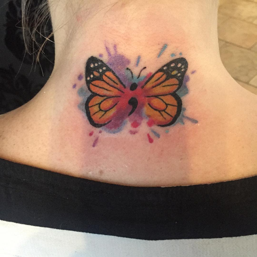 Watercolor Semicolon Butterfly Tattoo theyseemerolling_literally