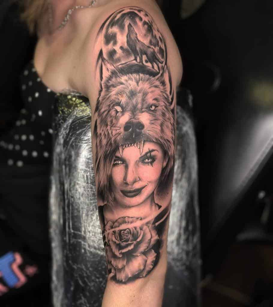 Wolf Arm Tattoos for Women reddesertink