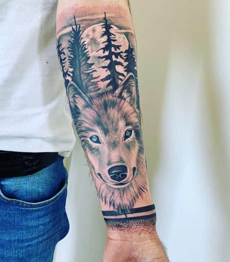 Wolf Forest Sleeve Tattoos claudyna_the_skin_bar_hamburg