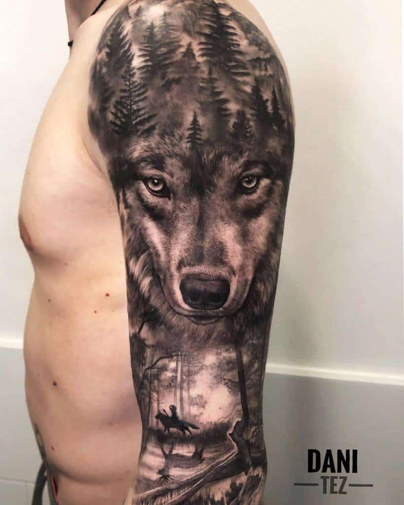 Wolf Forest Sleeve Tattoos dani.tez