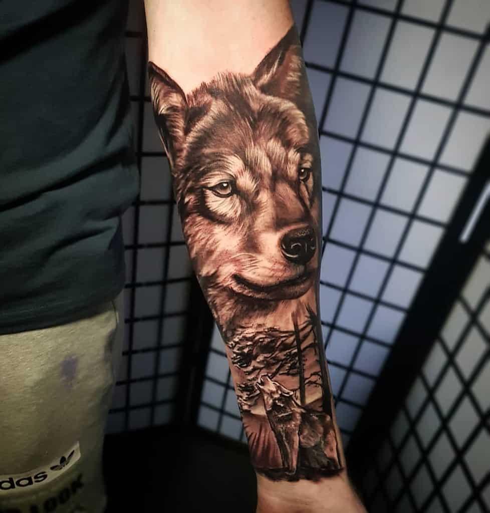 Wolf Forest Sleeve Tattoos jakeglovertattoo