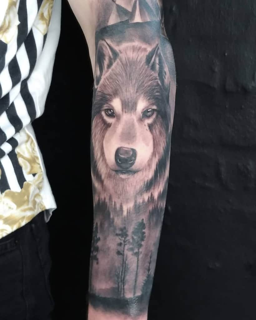 Wolf Forest Sleeve Tattoos miki_mo_tattoo