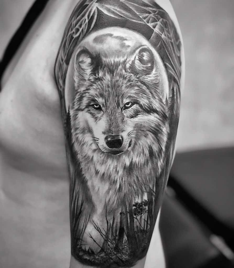Wolf Forest Sleeve Tattoos orlando.tattoo