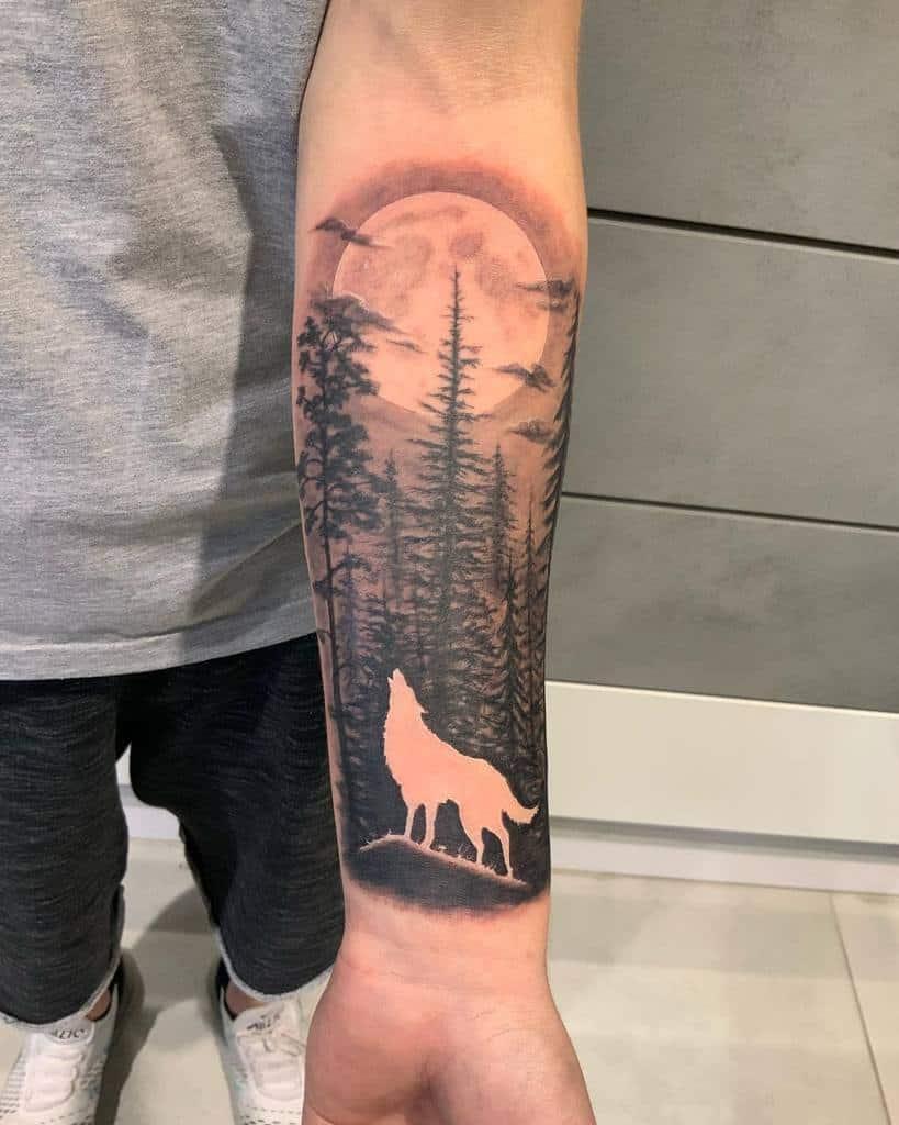 Wolf Forest Sleeve Tattoos philgotattoo