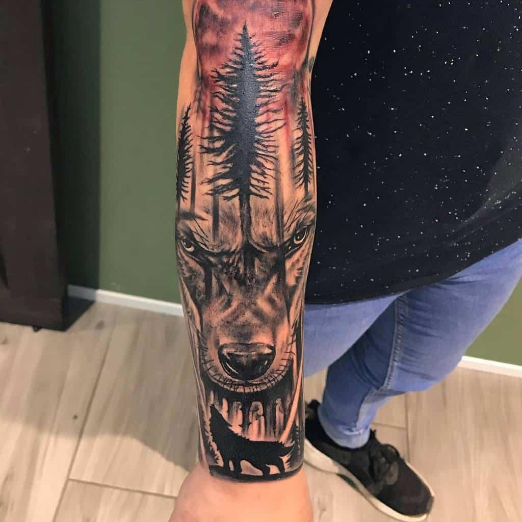 Wolf Forest Sleeve Tattoos robert_costea_tattoo