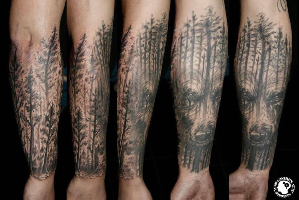 Wolf Forest Sleeve Tattoos tattoohousehu