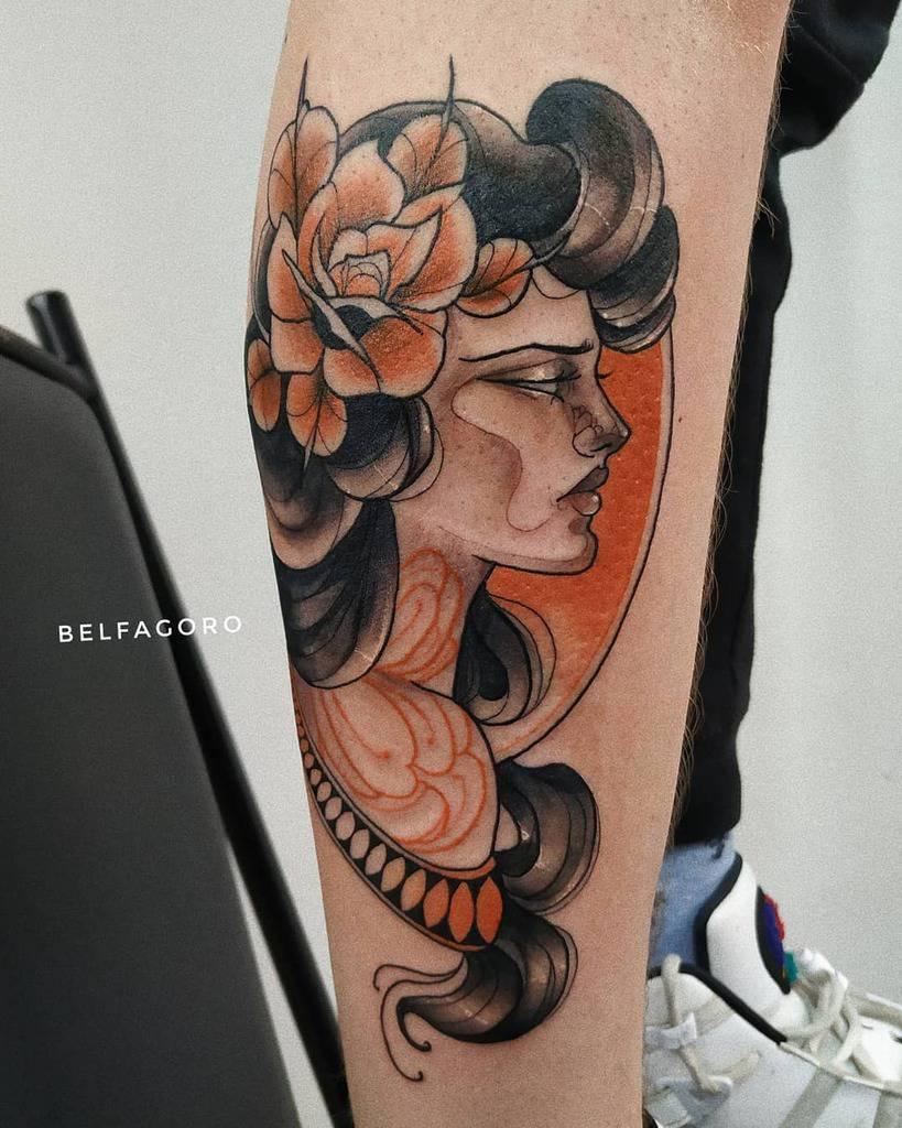 Woman Art Nouveau Tattoo Belfagoro