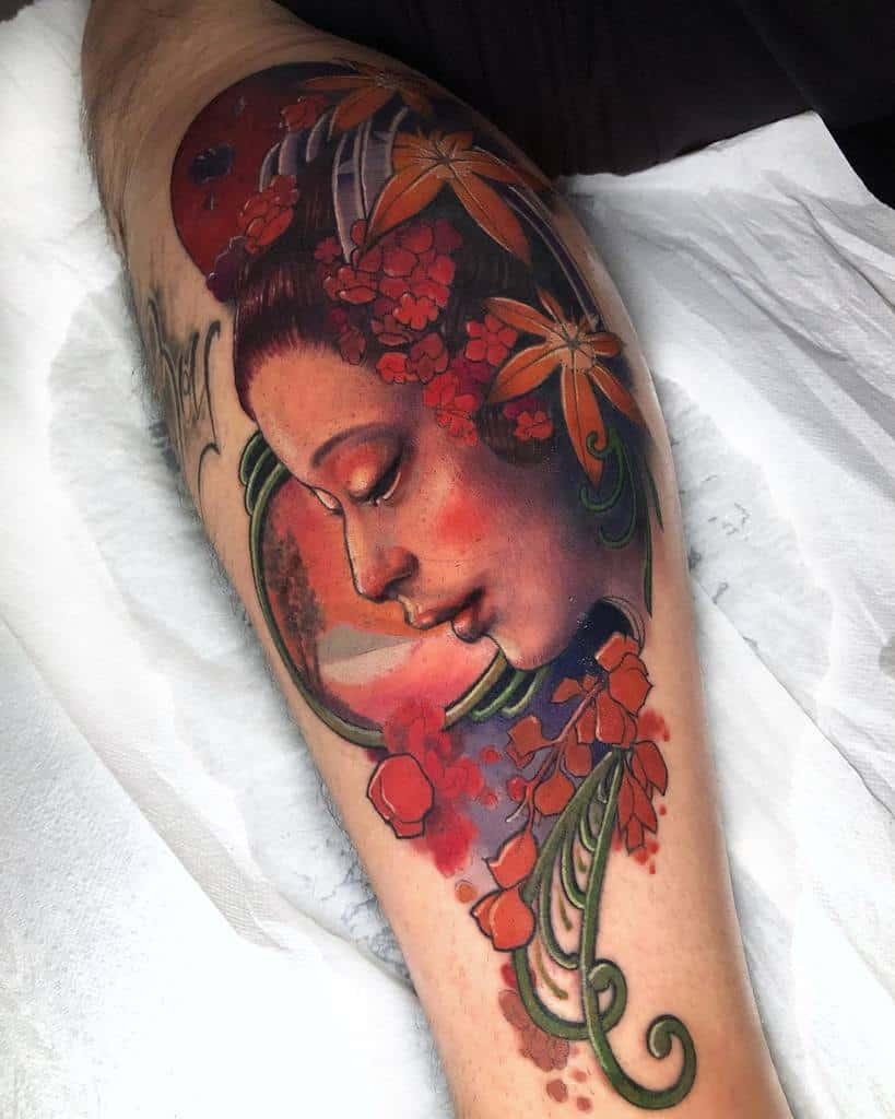 Woman Art Nouveau Tattoo Marvintatoueur