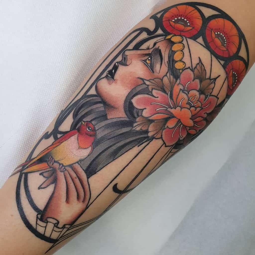 Woman Art Nouveau Tattoo Mashav Tattoo