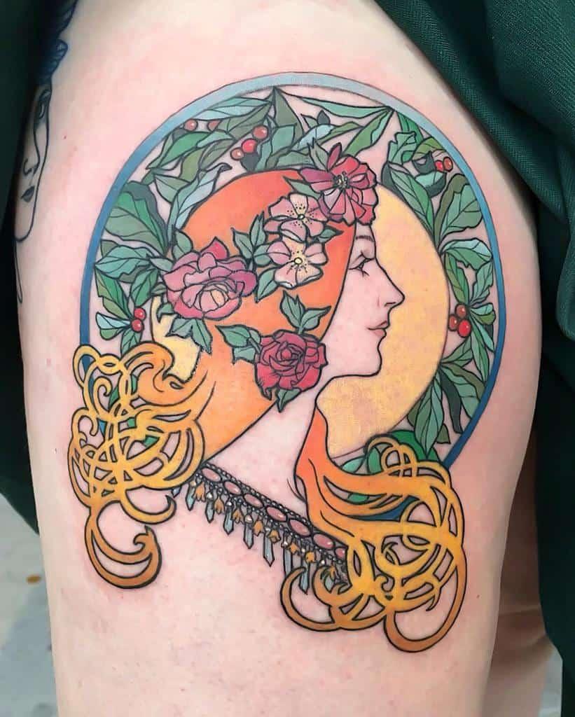Woman Art Nouveau Tattoo Muk.tatouage