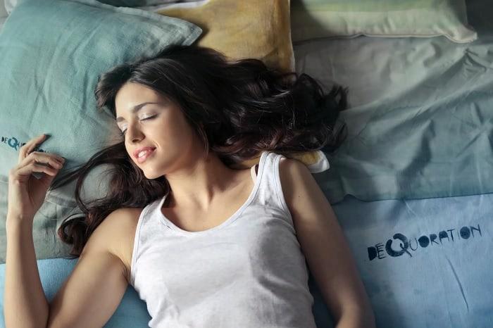 Woman Sleeping On Back