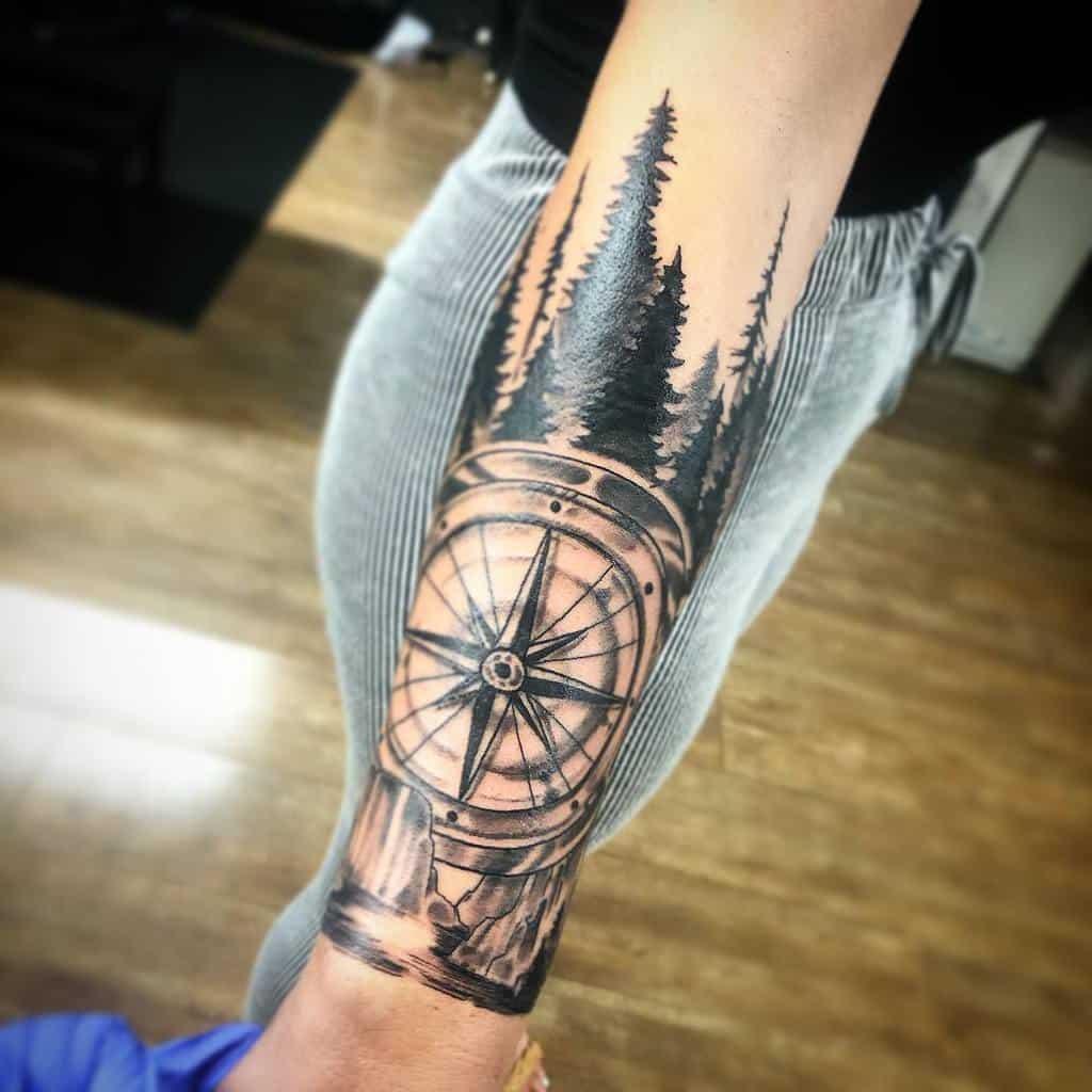Women Forest Sleeve Tattoos happytattooed