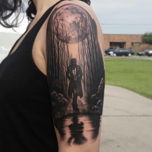 Women Forest Sleeve Tattoos j3ink