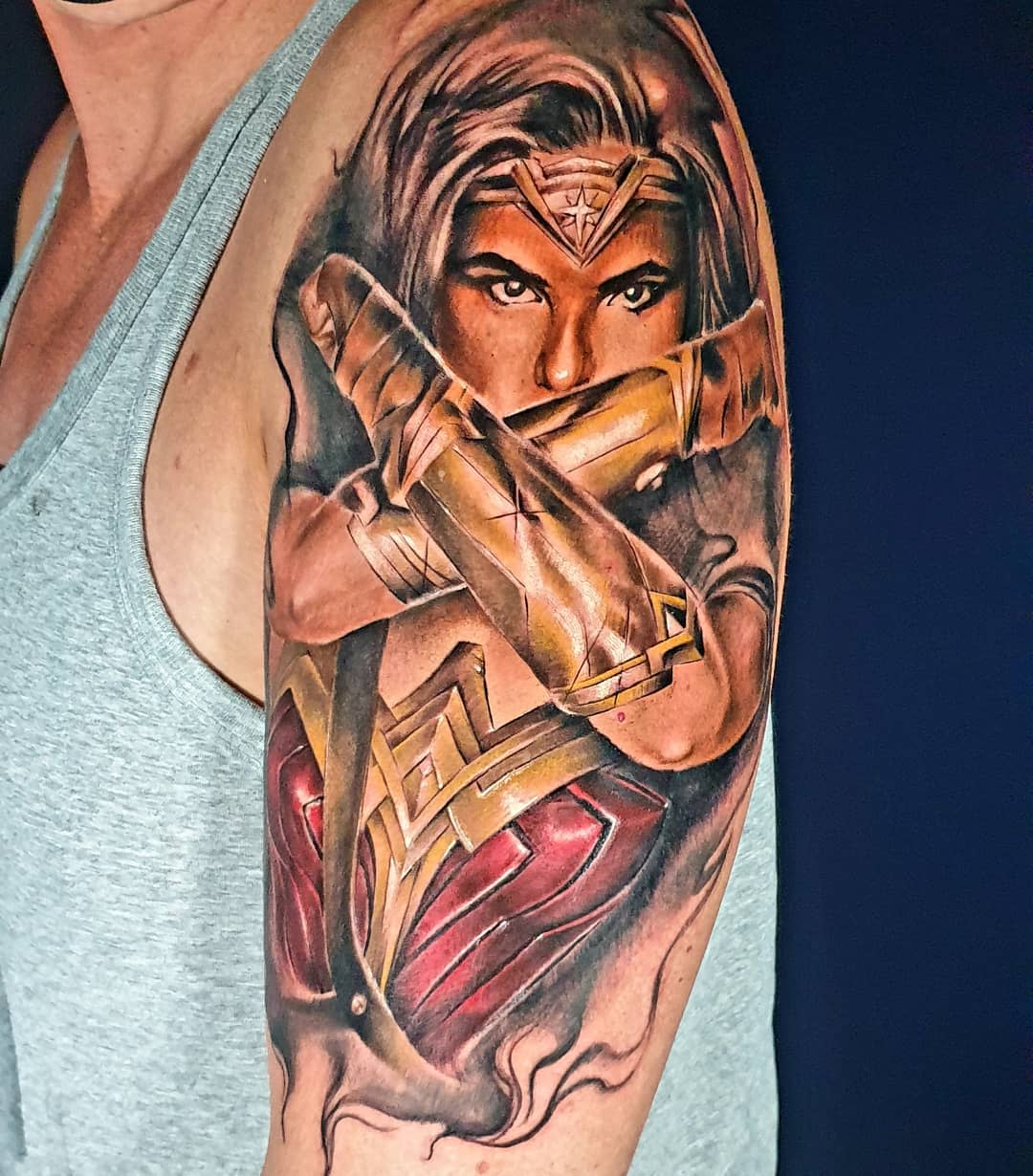 Realistic Wonder Woman Tattoo -ticklemehomo74
