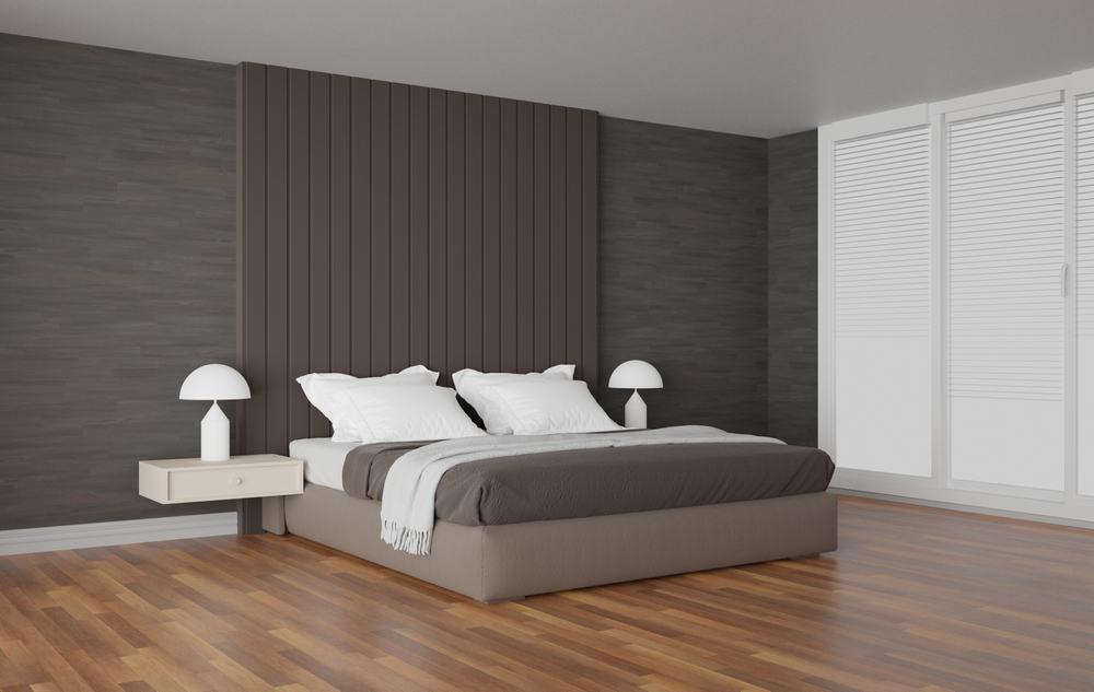 Brown,Tone,Bedroom,Interior,Decorate,By,Headboard,,Wooden,Parquet,Floor,
