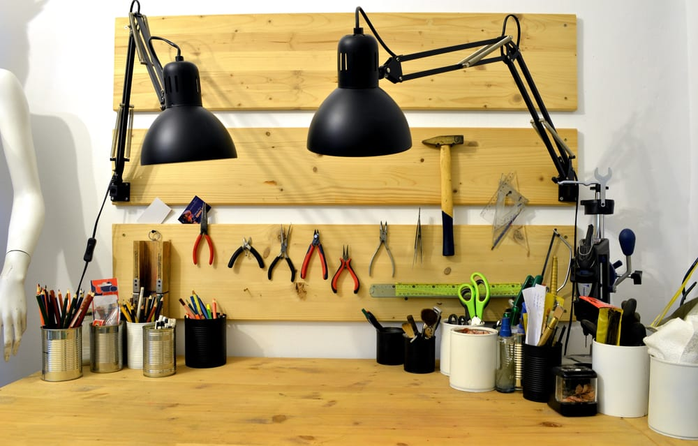 Craftsman,Workshop,Homemade,Wooden,Workbench,With,Tools