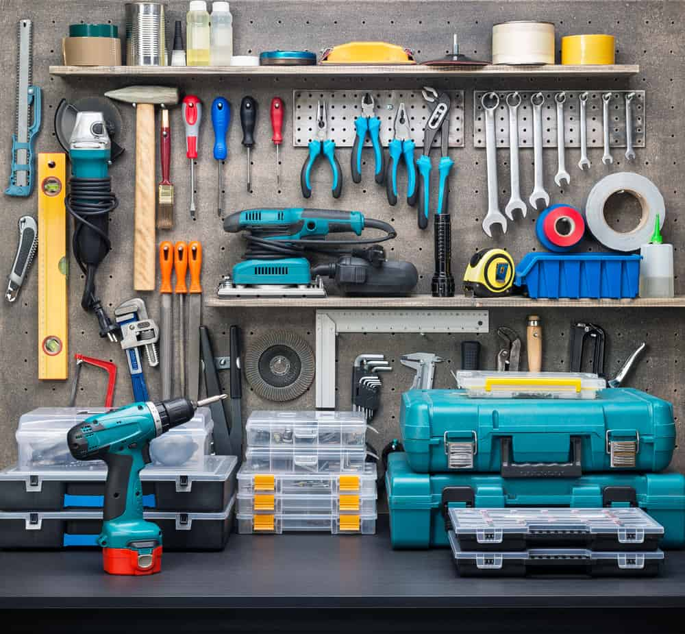Workshop,Scene.,Tools,On,The,Table,And,Board.