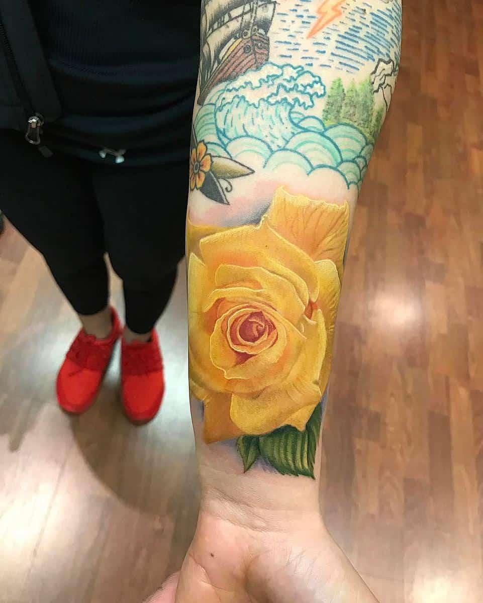 Wrist Yellow Rose Tattoo -arbyerley