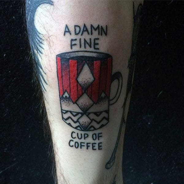 A Damn Fine Cup Of Coffee Mens Twin Peaks Outer Forearm Tattoo