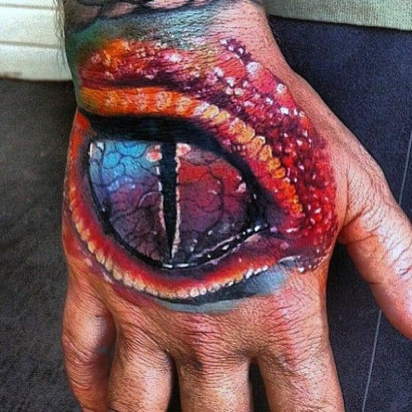 Ablaze Cracked Lizard Eye Tattoo Mens Hands