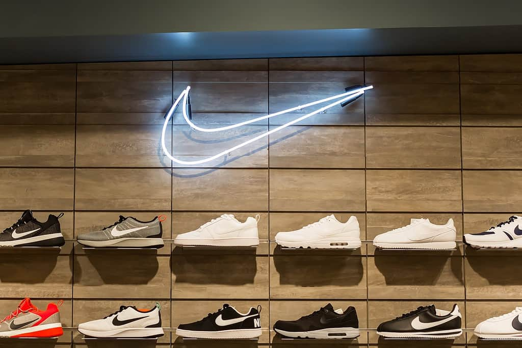 A shoe display of a Nike retail store in Bangkok, Thailand.