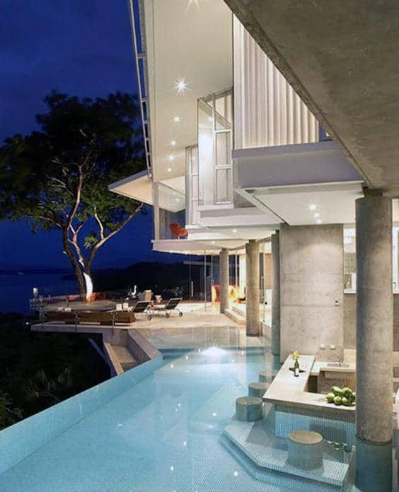 Above Ground Elevated Home Swimming Pool Luxury With In Water Bar