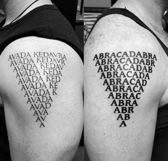 Abracadabra Quote Magician Tattoos For Gentlemen