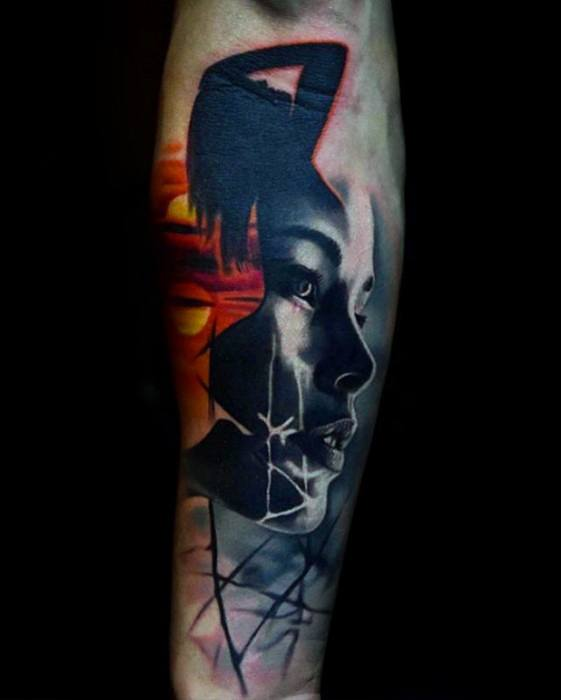 Abstact Forearm Portrait Male With Cool Morph Tattoo Design