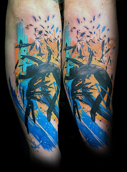 Abstact Watercolor Icarus Mens Outer Forearm Tattoo