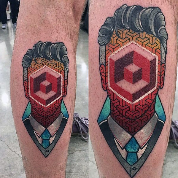 Abstract 3d Geometric Pattern Modern Tattoos For Men On Leg Calf