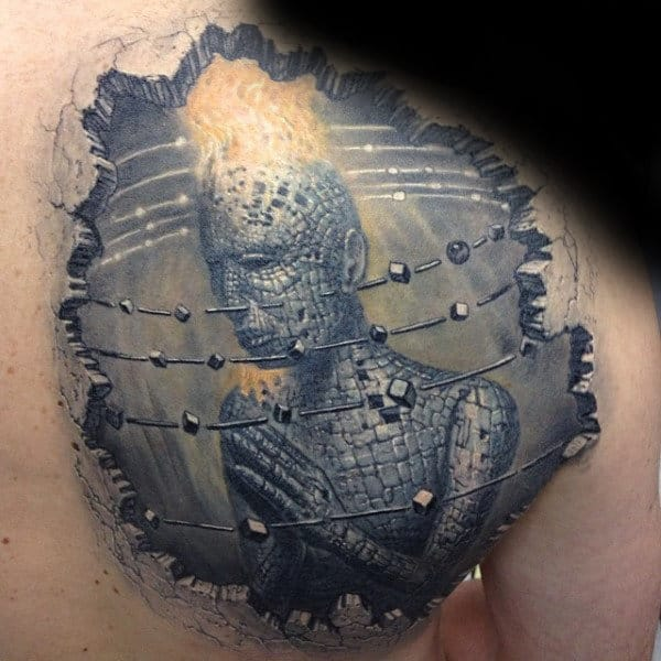 Abstract 3d Stone Blocks Mens Shoulder Tattoo