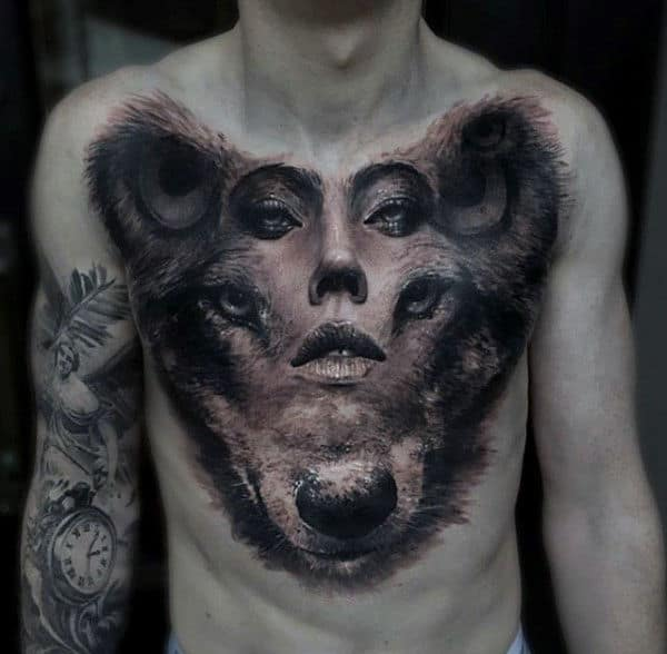 Abstract 3d Wolf Portrait Animal Chest Tattoos For Men