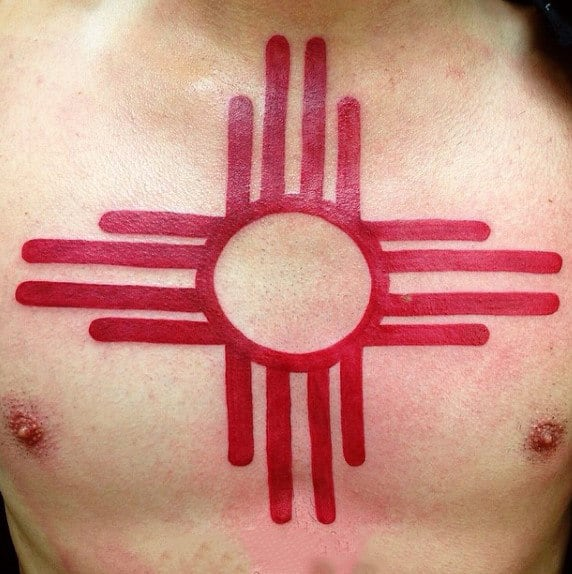 Abstract Ancient Tribal Sun Red Ink Mens Chest Tattoos